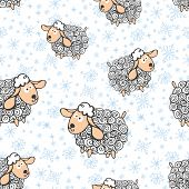foto of sheep  - Winter seamless pattern with funny curly sheep and snowflakes - JPG