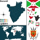 stock photo of burundi  - Vector map of Burundi with regions coat of arms and location on world map - JPG