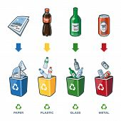 picture of reuse recycle  - Four recycling bins illustration with paper plastic glass and metal separation - JPG