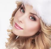 Cute Young Woman In Furry White Cap poster