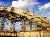 image of trestle bridge  - bridge under construction - JPG