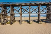 stock photo of trestle bridge  - A view of the Creek Trestle in Fort Bragg - JPG