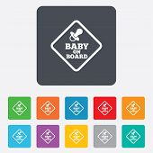 stock photo of nipple  - Baby on board sign icon - JPG
