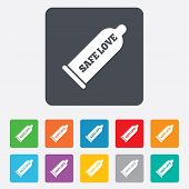 stock photo of contraception  - Condom safe sex sign icon - JPG