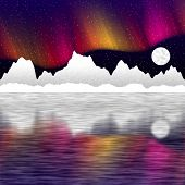 picture of arctic landscape  - Arctic pole landscape generated hires texture or background - JPG