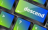 pic of descending  - descend button on computer pc keyboard key - JPG