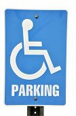 stock photo of physically handicapped  - Handicapped parking sign isolated on white background with clipping path - JPG