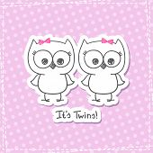 stock photo of twin baby girls  - vector little owls twins - JPG