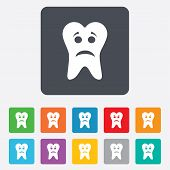 stock photo of bad teeth  - Tooth sad face sign icon - JPG