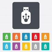 image of usb flash drive  - Usb sign icon - JPG