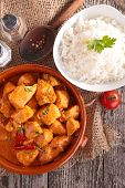 stock photo of curry chicken  - curry chicken and rice - JPG