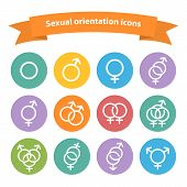 foto of hetero  - Vector sexual orientation white web icons - JPG