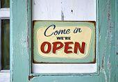 image of wooden door  - Vintage open sign on old wooden door - JPG