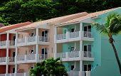 stock photo of conquistadors  - Colorful tropical homes with verandas in Puerto Rico - JPG