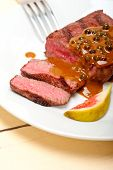 pic of ou  - beef filet mignon with green peppercorn creamy sauce ou poivre vert - JPG