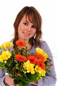 Girl With Colorful Bouquet