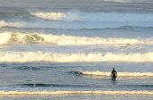 picture of rough-water  - Surfer braving the cold water in the sunrise morning light at Pacific City Oregon with mild Pacific ocean surf - JPG
