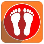 pic of flat-foot  - foot red flat icon isolated  - JPG