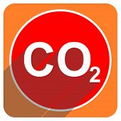 stock photo of carbon-dioxide  - carbon dioxide red flat icon isolated - JPG