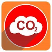 picture of carbon-dioxide  - carbon dioxide red flat icon isolated - JPG