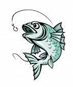 pic of fish pond  - Jumping carp fish for fishing sport symbol - JPG