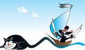 stock photo of adversity humor  - vector illustration of black pirate mouse sailing on tail of black cat - JPG