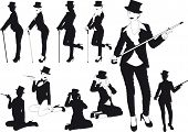 pic of erotic  - erotic silhouettes slim girl in hat with cane or cigarette - JPG