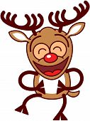 stock photo of bulging belly  - Cool brown reindeer with big antlers and red nose while clenching its eyes - JPG