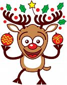 picture of bulging belly  - Enthusiastic brown reindeer with big antlers - JPG