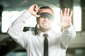 stock photo of blindfolded man  - Concept of job search. 