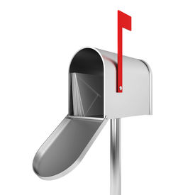 stock photo of mailbox  - Silver mailbox - JPG