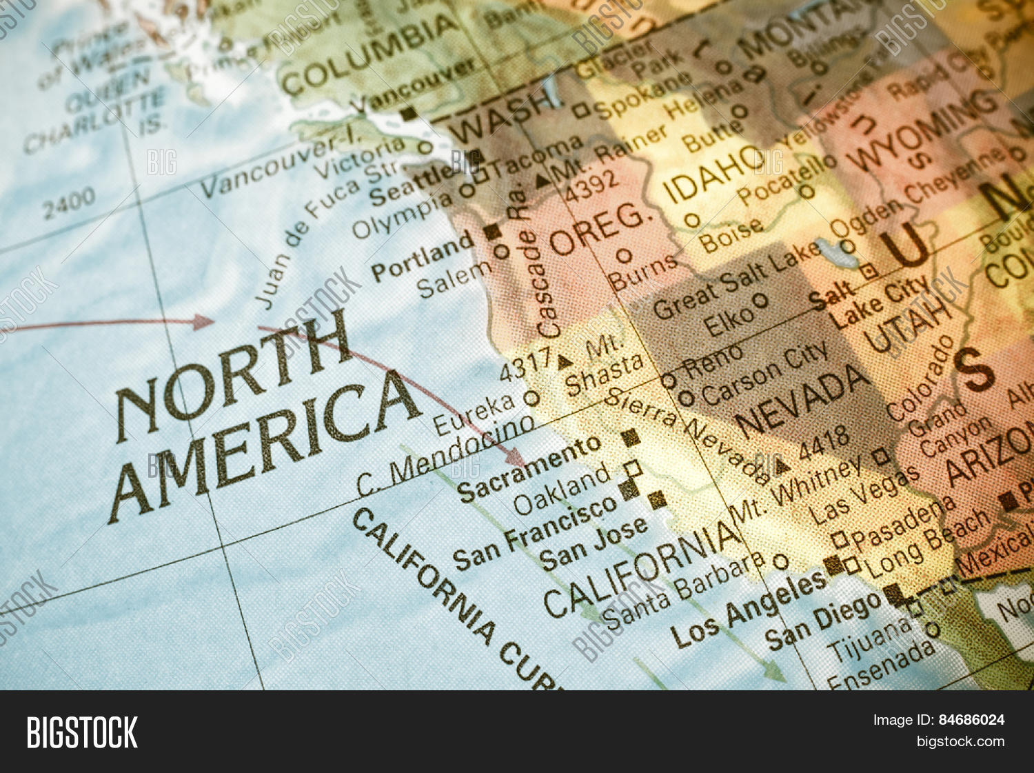 Map North West USA Closeup macro image of map North West – Map Usa North West