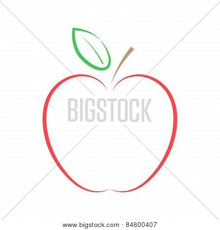 Red Apple On A White Background. Vector Illustration.