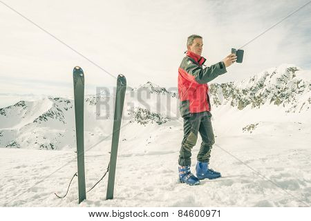 Alpinist Taking Selfie With Smartphone