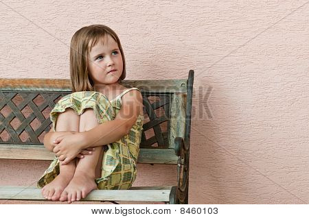 Child Portrait - Siting On Bench