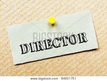 Recycled Paper Note Pinned On Cork Board.director Message. Concept Image