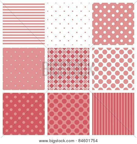 Tile vector pattern set with pink and white plaid, stripes and polka dots background
