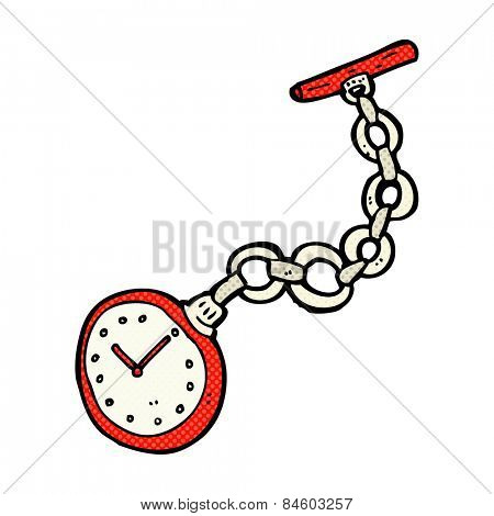 retro comic book style cartoon old pocket watch