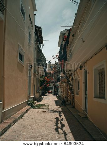 A typical street in Zante Town on the Greek island of Zakynthos