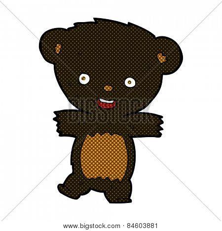 retro comic book style cartoon teddy black bear cub