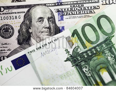 Dollar And Euro Money Background