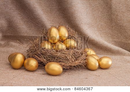 Heap Of Golden Easter Egg In Nest