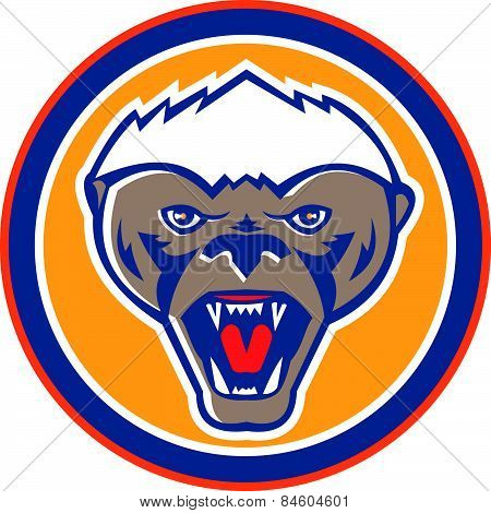 Honey Badger Mascot Head Circle Retro