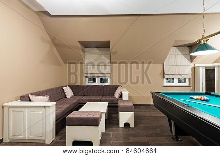Billiard Table In Luxury Living Room