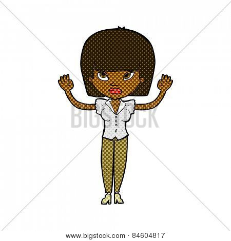 retro comic book style cartoon woman with raised hands