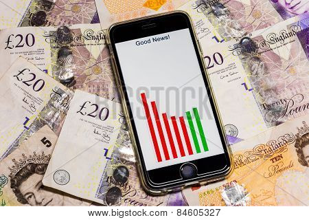 Mobile Phone On British money Notes With Good News Graph