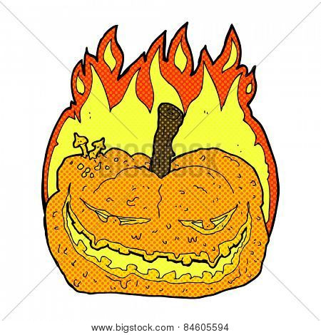 retro comic book style cartoon halloween pumpkin
