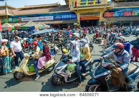 Motorcycles are the main mode of transportation in Saigon