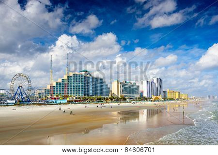 Daytona Beach, Florida, USA beachfront skyline.