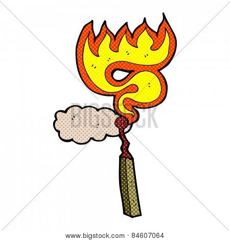 retro comic book style cartoon burning match